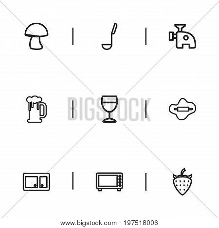 Set Of 9 Editable Cook Outline Icons. Includes Symbols Such As Cupboard, Berry, Rolling Pin And More