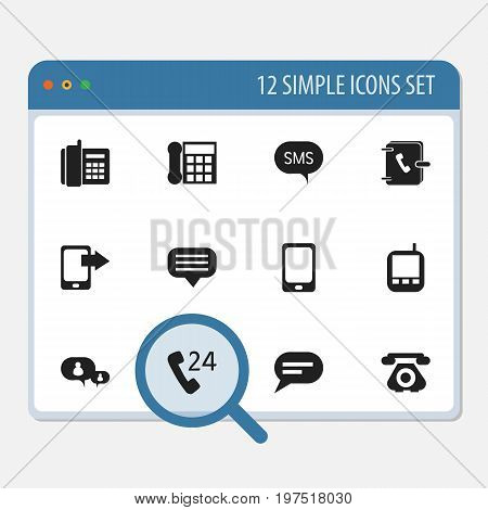 Set Of 12 Editable Gadget Icons. Includes Symbols Such As Share Display, Transceiver, Chatting And More
