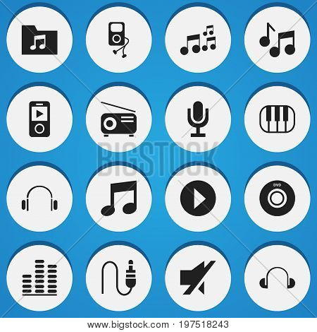 Set Of 16 Editable Audio Icons. Includes Symbols Such As Piano, Mike, Music And More