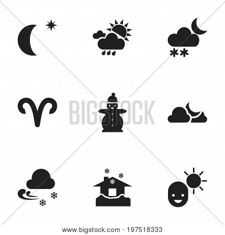 Set Of 9 Editable Air Icons. Includes Symbols Such As Ram, Snow Person, Shelter And More
