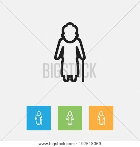 Vector Illustration Of Relatives Symbol On Granny Outline