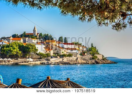 Scenic view at marble place Primosten in Dalmatia region, popular summer tourist resort in Croatia, Europe.