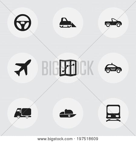 Set Of 9 Editable Transport Icons. Includes Symbols Such As Truck, Vessel, Tractor And More