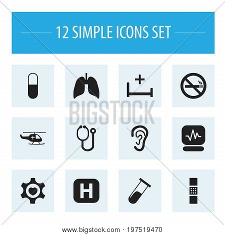 Set Of 12 Editable Clinic Icons. Includes Symbols Such As Clinic, Test Tube, Clinic Room And More