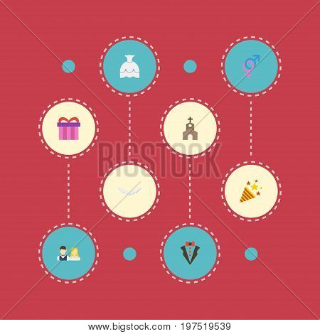 Flat Icons Building, Bridegroom Dress, Couple And Other Vector Elements