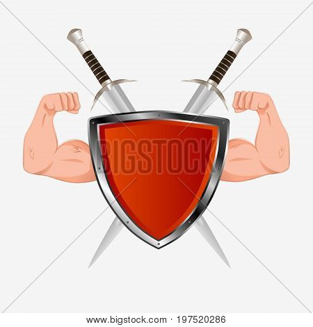 Red Shield With Arms