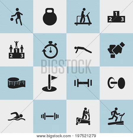 Set Of 16 Editable Healthy Icons. Includes Symbols Such As Executing Running, Crossbar, Racetrack Training And More