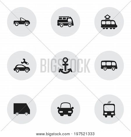 Set Of 9 Editable Transport Icons. Includes Symbols Such As Lorry, Food Transport, Transportation And More