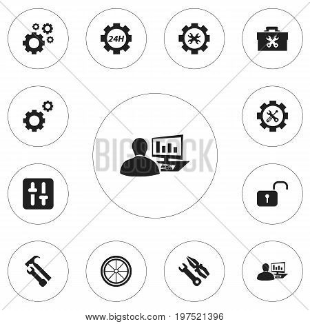 Set Of 12 Editable Tool Icons. Includes Symbols Such As Instrument, Fixing Equipment, Tyre And More