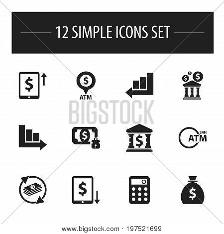 Set Of 12 Editable Financial Icons. Includes Symbols Such As Cash Growth, Arrow, Automatic Teller Machine And More