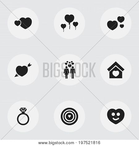 Set Of 9 Editable Amour Icons. Includes Symbols Such As Passion, Happy, Joy And More