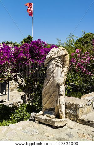 Ancient Roman marble sculpture inside the medieval Bodrum Castle in Turkey.