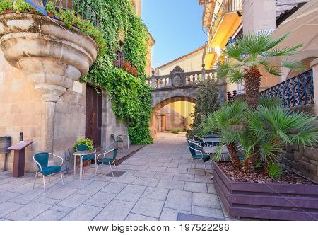 Poble Espanyol, traditional architecture site in Barcelona, Catalonia Spain