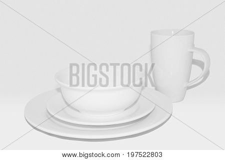 Dining Set With Mug: White Crockery On White Background