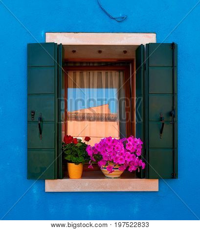 Window of the house in Burano with flowers and shutters, Italy