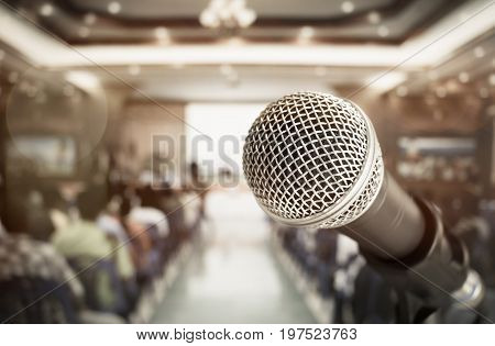 close-up microphone for speech and teaching at meeting room conference hall in school business and education concept