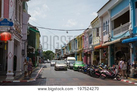 Phuket, Thailand - July 29, 2017: Chino-portuguese Style Building In Phuket Old Town.