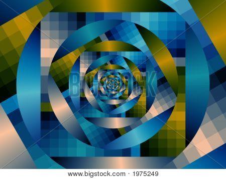 Optical Art Fractal Enclosing Circles One Blues And Yellows