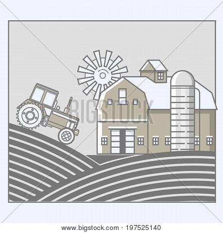 Agriculture and Farming. Agribusiness. Rural landscape in line art design. Vector illustration