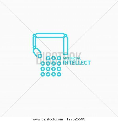 Neural networks, conceptual sign and logo. The analytical system. Vector illustration. Mechanical robotic arm for work.