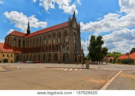 KUTNA HORA CZECH REPUBLIC - JULY 03 2016: Medieval gothic church near train station
