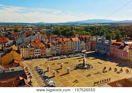 CESKE BUDEJOVICE CZECH REPUBLIC - JULY 05 2016: Central square of old town with town hall and fountain
