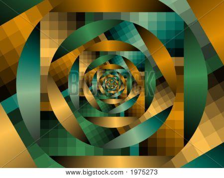 Optical Art Fractal Enclosing Circles One Greens And Oranges