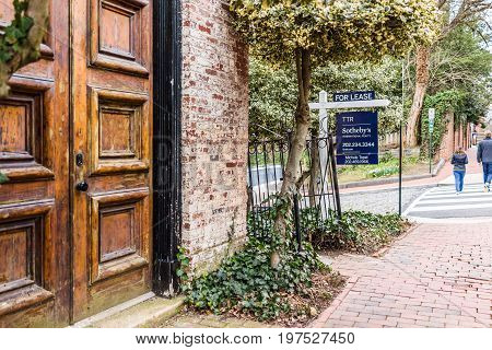 Washington DC USA - March 20 2017: Sotheby's for lease property sign in Georgetown neighborhood
