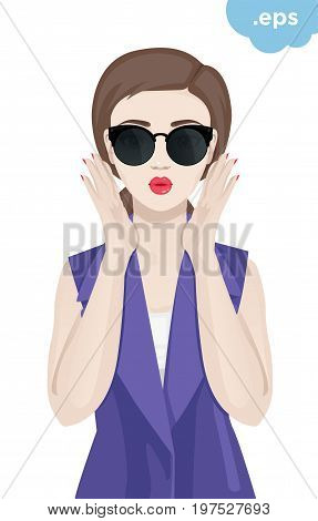 Fashionable young woman wearing sunglasses. A girl is holding her hands in front of her lips with a dodgy kiss.