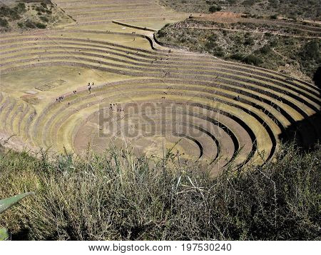 Impressive Inca agricultural site at Moray, Peru