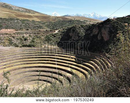 Impressve Inca agricultural site at Moray, Peru