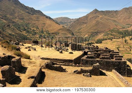 Inca walls and ruins at Pisac, Peru