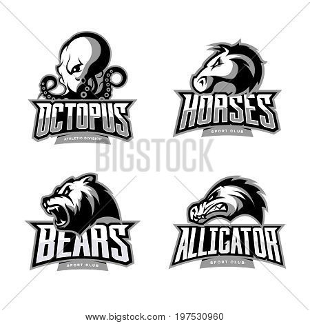 Furious octopus, horse, bear and alligator sport vector logo concept set isolated on white background. Modern team badge design. Premium quality wild animal and reptile t-shirt tee print illustration.