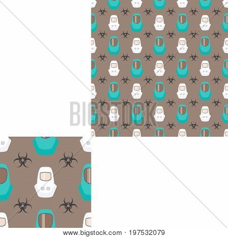 Seamless pattern of Rescue and fire with biohazard sign white and turquoise helmets on the dark gray background with pattern unit.