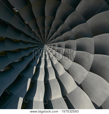 Turbine blades wings spiral effect abstract fractal pattern background Spiral industrial production metallic turbine background Turbine manufacturing technology abstract fractal pattern Metal umbrella