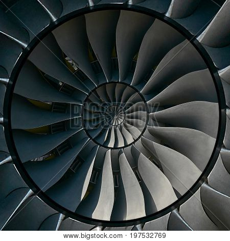 Turbine blades wings effect abstract fractal pattern background. Circle round turbine blades production metallic background. Turbine industrial technology abstract fractal pattern staircase