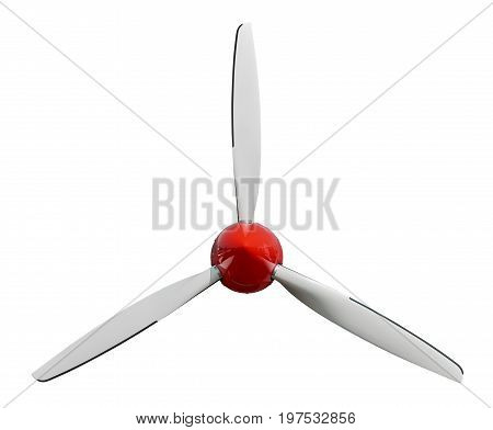 Sport plane white propeller screw with red cover cap. Airplane air screw of engine part for designers. Aircraft plane screw propeller. White red windmill. Three blades Plane airscrew