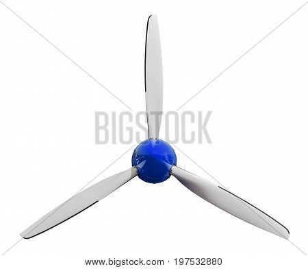 Sport plane white propeller screw with blue cover cap. Airplane air screw of engine part for designers. Aircraft plane screw propeller. White blue windmill. Three blades Plane airscrew