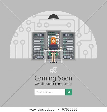 Website is under reconstruction. Girl system administrator. Website Template. Coming Soon. Vector illustration. Flat style.