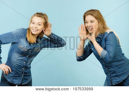 Two Women Telling Tales, Rumors Gossip