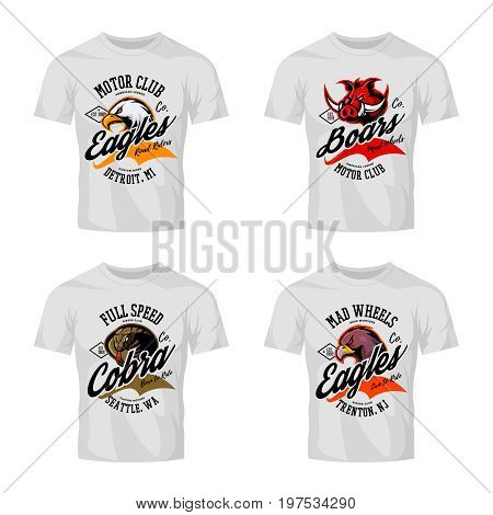 Vintage furious eagle, boar, cobra bikers club tee print vector vector design isolated on white t-shirt mockup. Street wear t-shirt emblem set. Premium quality wild animal logo concept illustration.