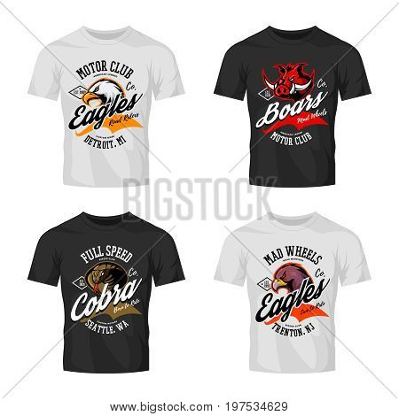 Vintage furious eagle, boar, cobra bikers club tee print vector design isolated on t-shirt mockup. Street wear t-shirt emblem set. Premium quality wild animal logo concept illustration.