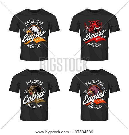Vintage furious eagle, boar, cobra bikers club tee print vector vector design isolated on black t-shirt mockup. Street wear t-shirt emblem set. Premium quality wild animal logo concept illustration.