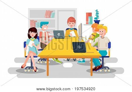 Stock vector illustration business people men women employees colleagues sit negotiating conference planning table teamwork brainstorm presentation leader boss meeting assembly collection flat style