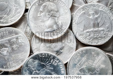 Extreme Close Up Picture Of United States Quarter Dollar Coins.