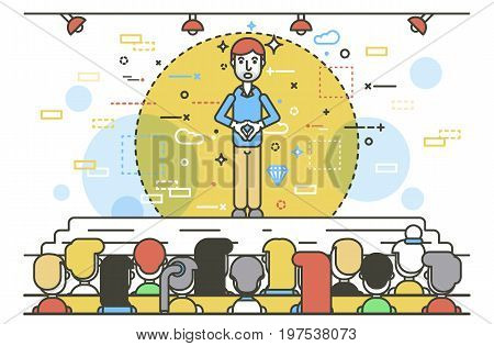 Vector illustration orator spokesman spokesperson speaker gesture businessman rhetor politician speech speaking on stage audience business presentation spitch line art linear style white background