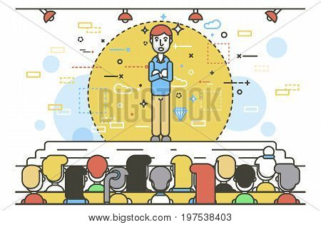 Vector illustration orator spokesman spokesperson speaker crossed arms businessman rhetor politician speech speaking stage audience business presentation spitch line art linear style white background