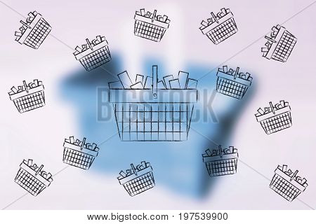 Flying Shopping Baskets Full Of Items