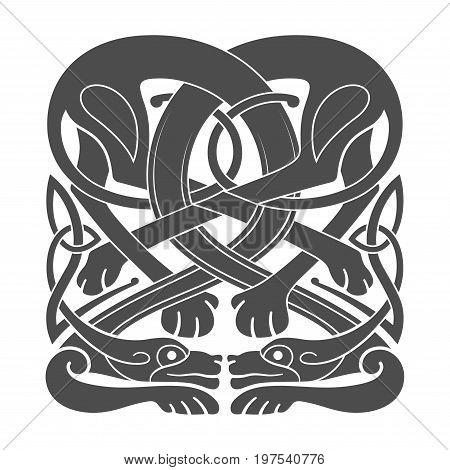 Ancient celtic mythological symbol of hounds dogs. Vector knot ornament.