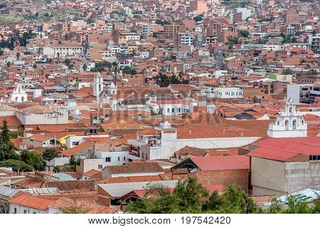 Terracotta rooftops at Sucre city in Bolivia